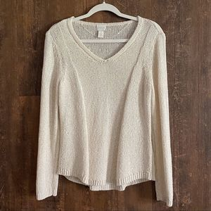 Chico's | Ivory Sequin Pullover V-neck Sweater